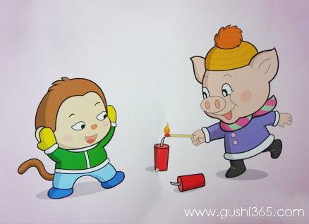 嘟噜猪放鞭炮