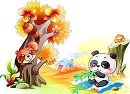 小熊猫在幼儿园里