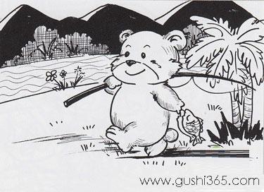 聪明的小熊钓鱼