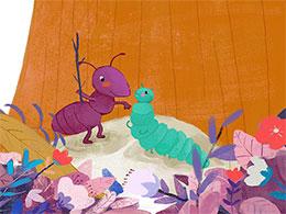 小蚂蚁和毛毛虫故事