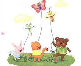 小动物放风筝
