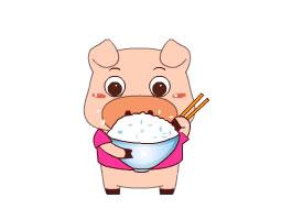 胖猪学吃饭