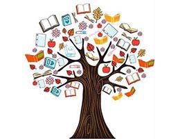 长满书叶子的树