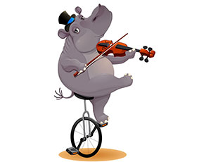 拉小提琴的大嘴河马