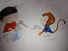 不愛洗手的小猴