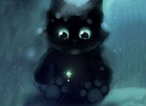 小黑猫帮助了别人,心里美美的!