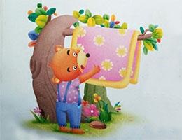 小棕熊晒被子