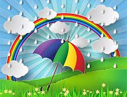 彩虹伞和小花朵