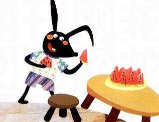 小兔吃西瓜