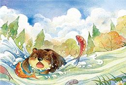 熊寶寶學捕魚
