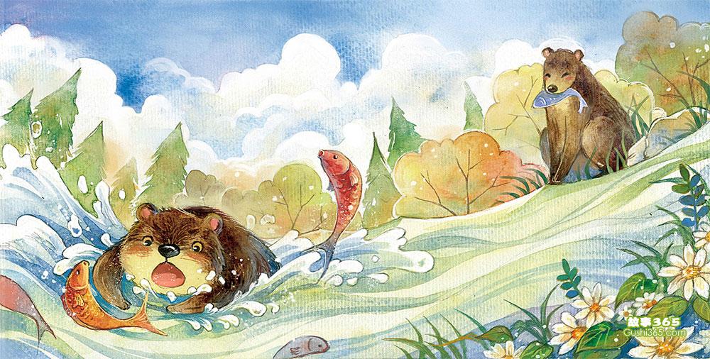 熊宝宝学捕鱼