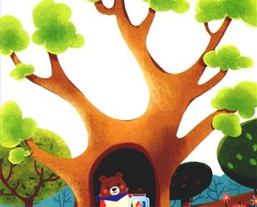 树洞里的小熊